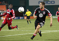 WASHINGTON, DC. - AUGUST 22, 2012:  Chris Kolb (22) of DC United races forward against the Chicago Fire during an MLS match at RFK Stadium, in Washington DC,  on August 22. United won 4-2.