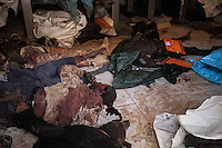 Sunday 22, May 2016: Bodies of a dead ISIL fighters are seen at the morgue of Misrata, Libya.