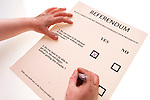 Child filling in the ballot form