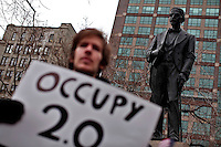 Protesters affiliated with the Occupy Wall Street movement takes part in a protest called Occupy 2.0 in Duarte Square as they marking the 3th aniversary in New York, United States. 02/12/2011.  Photo by Kena Betancur / VIEWpress.