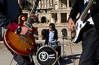 Rock band Kabul Dreams play their instruments in the ruins of a castle in Kabul. Kabul Dreams is made up of singer/guitarist Sulyman Qardash, bass player Siddique Ahmad and drummer Mujtaba Habibi, and they claim to be the country's first and only rock and roll group.