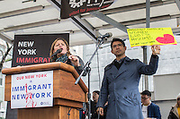"NEW YORK, NY - DECEMBER 18 : Melissa Mark-Viverito and Council Member Carlos Menchaca speak  during the celebration of the  ""March for Immigrant New York"" to pledge for protecting Immigrants from Anti-Immigrant Policies on the International Migrant Day in New York City on December 18, 2016. VIEWpress/Maite H. Mateo"