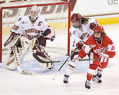 Molly Schaus (BC - 30), Dru Burns (BC - 7), Taylor Holze (BU - 24) - The visiting Boston University Terriers defeated the Boston College Eagles 1-0 on Sunday, November 21, 2010, at Conte Forum in Chestnut Hill, Massachusetts.