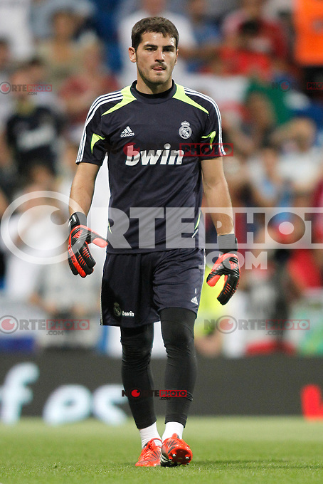 Real Madrid's  Iker Casillas during Super Copa of Spain on Agost 29th 2012...Photo:  (ALTERPHOTOS/Ricky) Super Cup match. August 29, 2012. <br />