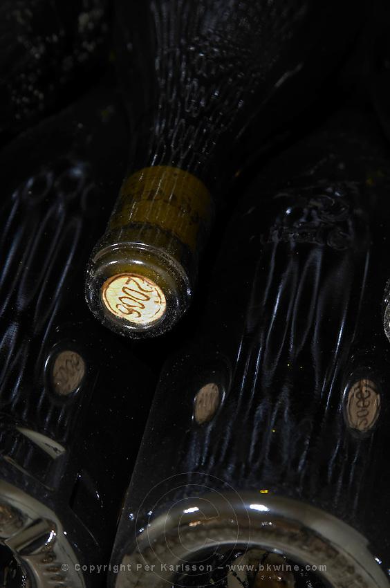 pile of bottles domaine du vieux telegraphe chateauneuf du pape rhone france