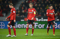 FUSSBALL   1. BUNDESLIGA   SAISON 2012/2013    20. SPIELTAG Bayer 04 Leverkusen - Borussia Dortmund                  03.02.2013 Lars Bender, Simon Rolfes, Sebastian Boenisch (v.l., alle Bayer 04 Leverkusen) sind enttaeuscht
