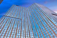Mandarin Oriental, Las Vegas; Nevada; Resort, Hospitality, Strip; looking up, shopping, Sunrise, Blue Sky, Travel, Destination, View, Unique, Quality