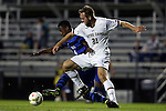 17 October 2014: Notre Dame's Vince Cicciarelli (21) and Duke's Kevon Black (CAN) (4). The Duke University Blue Devils hosted the Notre Dame University Fighting Irish at Koskinen Stadium in Durham, North Carolina in a 2014 NCAA Division I Men's Soccer match. Notre Dame won the game 4-1.