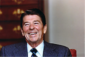 United States President Ronald Reagan, recouperating from his gunshot wound, is shown at the White House being interviewed by the press on Wednesday, April 22, 1981.  Reagan said he is still against hand gun controls but promised to be more alert when leaving and entering public places..Mandatory Credit: Michael Evans - White House via CNP