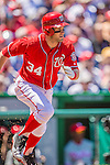 26 May 2013: Washington Nationals outfielder Bryce Harper in action against the Philadelphia Phillies at Nationals Park in Washington, DC. The Nationals defeated the Phillies 6-1 to take the rubber game of their 3-game weekend series. Mandatory Credit: Ed Wolfstein Photo *** RAW (NEF) Image File Available ***
