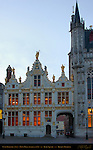 Civil Registry and Town Hall Stadhuis at Dawn, Burg Square, Bruges, Brugge, Belgium