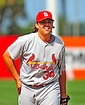 13 March 2009: St. Louis Cardinals' pitcher Chris Perez warms up prior to taking the mound during a Spring Training game against the Baltimore Orioles at Fort Lauderdale Stadium in Fort Lauderdale, Florida. The Cardinals defeated the Orioles 6-5 in the Grapefruit League matchup. Mandatory Photo Credit: Ed Wolfstein Photo