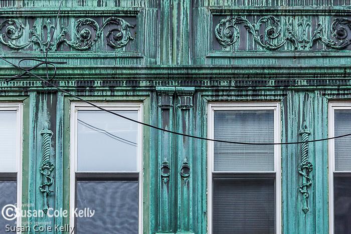 Copper-clad bay windows in the North End neighborhood, Boston, Massachusetts, USA