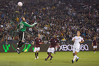 Goalkeeper Matt Pickens of the Colorado Rapids watches as a ball shot by Landon Donovan of the LA Galaxy barely flys over the crossbar. The Colorado Rapids defeated the LA Galaxy 3-2 at Home Depot Center stadium in Carson, California on Saturday October 16, 2010.