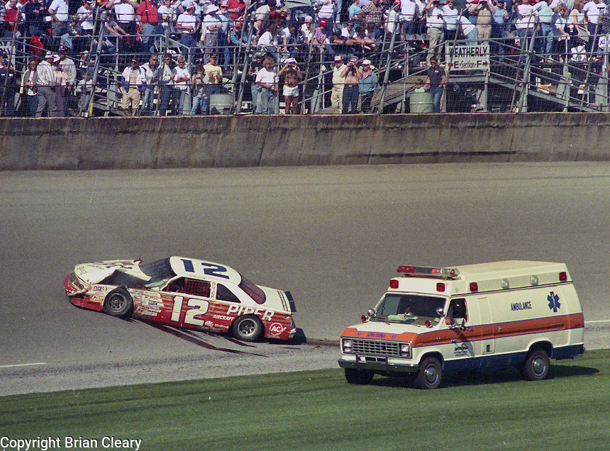 Clifford Allison crash Daytona busch series race at Daytona International Speedway on February 18, 1989.  (Photo by Brian Cleary/www.bcpix.xom)