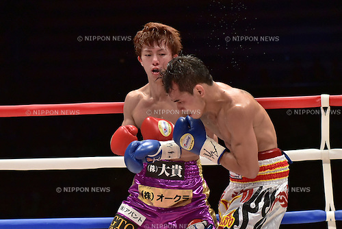 (L-R) Ryoichi Taguchi (JPN), Kwanthai Sithmorseng (THA),<br /> MAY 6, 2015 - Boxing :<br /> Ryoichi Taguchi of Japan in action against Kwanthai Sithmorseng of Thailand during the third round of the WBA light flyweight title bout at Ota-City General Gymnasium in Tokyo, Japan. (Photo by Hiroaki Yamaguchi/AFLO)