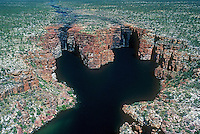 Aerial over the majestic Mitchell River Plateau and waterfalls in North Western Australia,