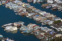house boats aerial photograph, Sausalito, Marin County, California