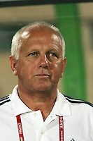 Hungary's head coach Sandor Egervari stands on the field before the match against Italy during the FIFA Under 20 World Cup Quarter-final match at the Mubarak Stadium  in Suez, Egypt, on October 09, 2009. Hungary won 2-3 in overtime.