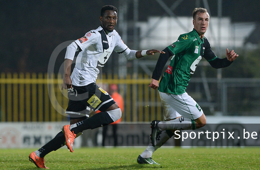 20161217 - ROESELARE , BELGIUM : Roeselare's Ebrahima Ibou Sawaneh (left) pictured in duel with Cercle's Gilles Dewaele (r) during the Proximus League match of D1B between Roeselare and Cercle Brugge, in Roeselare, on Saturday 17 December 2016, on the day 20 of the Belgian soccer championship, division 1B. . SPORTPIX.BE | DAVID CATRY