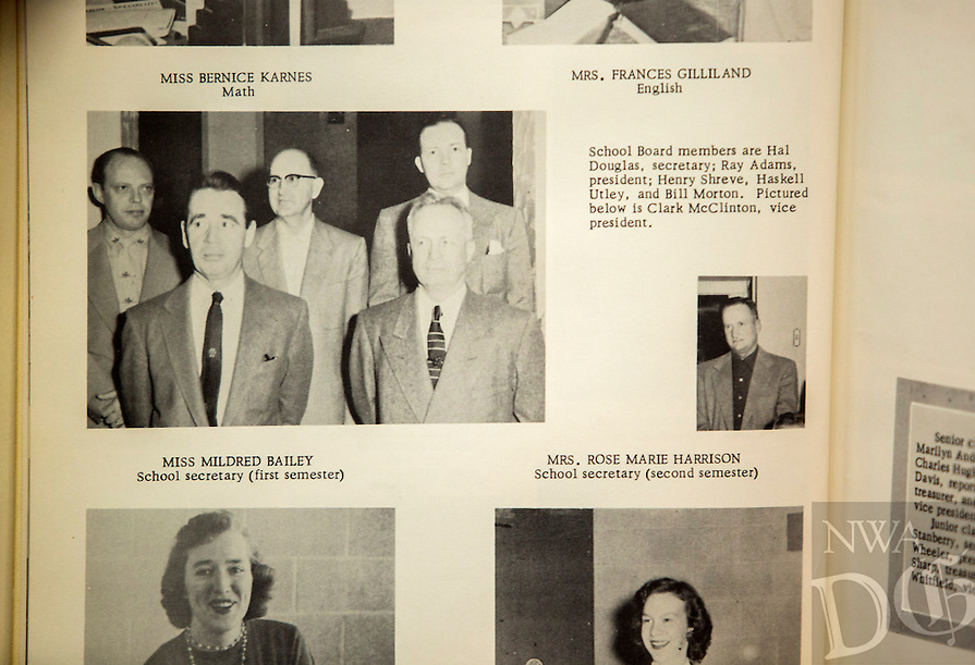 NWA Democrat-Gazette/JASON IVESTER<br /> 1956 Fayetteville High School yearbook; photographed on Monday, Feb. 8, 2016