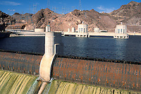 Overflow spillway at Hoover Dam, Lake Mead, Arizona Nevada border..