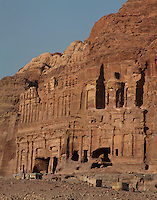 Palace tomb on left and Corinthian tomb on right, Royal tombs, 1st century AD, Petra, Ma'an, Jordan. These tombs were carved by the Nabateans for their Kings in the face of Jabal al-Khubtha, the mountain overlooking Petra on the East. Petra was the capital and royal city of the Nabateans, Arabic desert nomads. Picture by Manuel Cohen