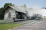 Menomonee Falls Train Depot located at Old Falls Village overlaid with a 1900s photo