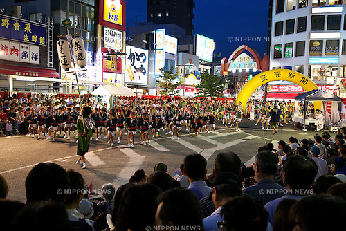 August 24, 2014, Tokyo, Japan: Dancers in colorful costumes perform during the Koenji Awa-Odori Festival on August 24, 2014 in Tokyo, Japan. About 156 groups danced along the shopping district, located on both sides of JR Koenji Station, on the last Saturday and Sunday of August. The annual Koenji Awa-Odori Festival is the second largest after Tokushima Awa-Odori festival. (Photo by Rodrigo Reyes Marin/AFLO)