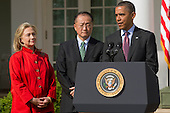 United States President Barack Obama, right, introduces Jim Yong Kim, president of Dartmouth College, as a nominee to become president of the World Bank with U.S. Secretary of States Hillary Rodham Clinton, left, in the Rose Garden of the White House in Washington, D.C., U.S., on Friday, March 23, 2012. Kim was born in Seoul and is a U.S. citizen. He would succeed Robert Zoellick as the head of the bank. The bank made $57 billion loans in the last fiscal year. .Credit: Andrew Harrer / Pool via CNP