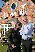 Hilary Barlow, Manager of The Dovecote Pub, Leicester with Licencee Michael Thomas.