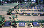 A cemetery filled with the graves of nearly 7,000 Australians and Englishmen who died  during World War II in Kanchanaburi, Thailand. Over 16,000 allied P.O.W.s died of starvation, maltreatment and disease while building the bridge on the River Kwai and a 250- mile railway from Thailand into Burma. The Bridge on the River Kwai, known to many P.O.W.'s as the bridge of sorrow, attracts thousands of tourists yearly. (Jim Bryant Photo).....