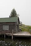 Historic buildings on the canal in the landmark  Leland Historic District (Fishtown), Leland, Michigan, MI, USA