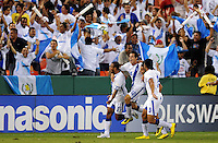 Guatemala midfielder Fredy Thompson (15) celebrates his score with team mates after scoring in the 45th minute of the game.    The Guatemalan National Team defeated  El Salvador National Team 2-0 in a friendly international at RFK Stadium, Saturday September 7, 2010.
