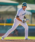 1 September 2013: Vermont Lake Monsters infielder Michael Soto in action against the Connecticut Tigers at Centennial Field in Burlington, Vermont. The Lake Monsters fell to the Tigers 6-4 in 10 innings of NY Penn League action. Mandatory Credit: Ed Wolfstein Photo *** RAW Image File Available ****