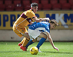St Johnstone U20 v Motherwell U20&hellip;03.10.16.. McDiarmid Park   SPFL Development League<br />Jamie Docherty is fouled by Adam Livingstone<br />Picture by Graeme Hart.<br />Copyright Perthshire Picture Agency<br />Tel: 01738 623350  Mobile: 07990 594431