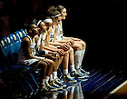 Feb 26, 2013; Kaila Turner (15), Jewel Loyd (32), Skylar Diggins (4), Kayla McBride (21) and Natalie Achonwa (11) wait to be introduced before the game against Syracuse...Photo by Matt Cashore/University of Notre Dame