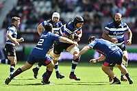 Luke Charteris of Bath Rugby takes on the Stade Francais defence. European Rugby Challenge Cup Semi Final, between Stade Francais and Bath Rugby on April 23, 2017 at the Stade Jean-Bouin in Paris, France. Photo by: Patrick Khachfe / Onside Images