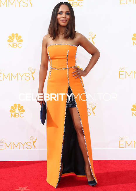 LOS ANGELES, CA, USA - AUGUST 25: Actress Kerry Washington arrives at the 66th Annual Primetime Emmy Awards held at Nokia Theatre L.A. Live on August 25, 2014 in Los Angeles, California, United States. (Photo by Celebrity Monitor)