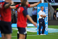 England Head Coach Stuart Lancaster looks on during the pre-match warm-up. QBE International match between England and France on August 15, 2015 at Twickenham Stadium in London, England. Photo by: Patrick Khachfe / Onside Images
