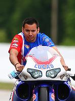 May 17, 2014; Commerce, GA, USA; NHRA pro stock motorcycle rider Hector Arana Jr during qualifying for the Southern Nationals at Atlanta Dragway. Mandatory Credit: Mark J. Rebilas-USA TODAY Sports