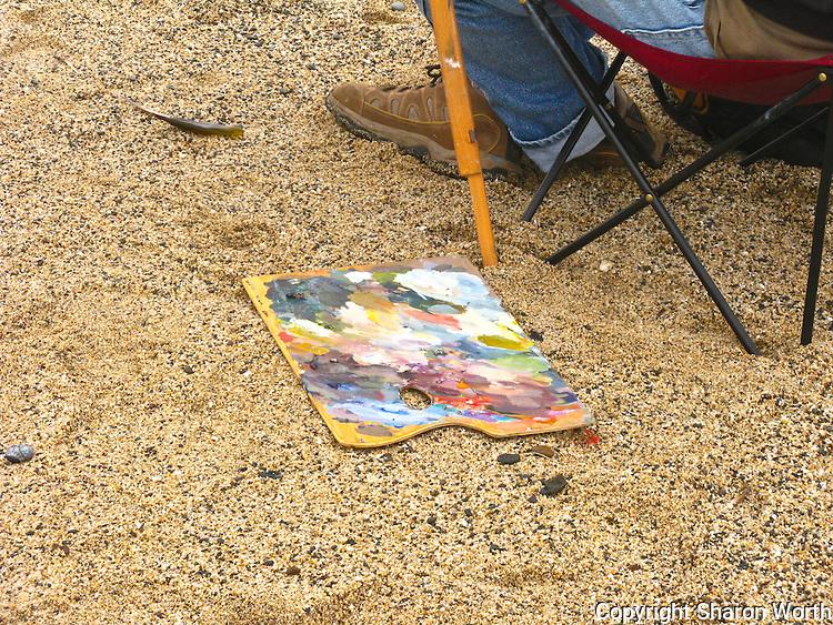 A palette in the sand as plein air artist Edwin Bertolet (www.ebertolet.com)  prepares his tools.