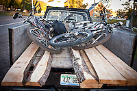 Mountain bikes and lumber used to build bike trails in the back of a truck in Copper Harbor Michigan.