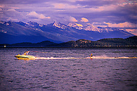 Waterskiing, Rollins, Flathead Lake, Montana USA