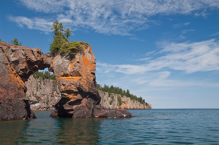 A sea arch and Shovel Point on Lake Superior at Tettegouche State Park on Minnesota's North Shore.