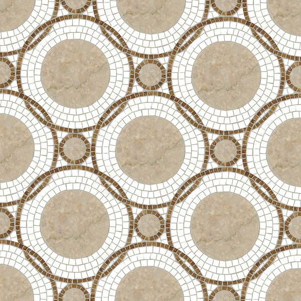 Baby Venus, a waterjet and hand-cut stone mosaic, shown in polished Botticino, Thassos, Travertine White.
