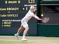 LUKE SAVILLE (AUS) (16) against LIAM BROADY (GBR) (15) in the Final of the Boy's Singles. Luke Saville beat Liam Broady 2-6 6-4 6-2..Tennis - Grand Slam - Wimbledon - AELTC - London- Day 12 - Sat July 2nd 2011..© AMN Images, Barry House, 20-22 Worple Road, London, SW19 4DH, UK..+44 208 947 0100.www.amnimages.photoshelter.com.www.advantagemedianetwork.com.