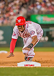 22 May 2015: Washington Nationals outfielder Michael Taylor dives back to first during during the 7th inning against the Philadelphia Phillies at Nationals Park in Washington, DC. The Nationals defeated the Phillies 2-1 in the first game of their 3-game weekend series. Mandatory Credit: Ed Wolfstein Photo *** RAW (NEF) Image File Available ***