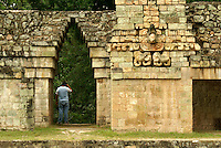 Sculpted Macaw and Maya corbeled arch on the ballcourt at the Mayan ruins of Copan, Honduras. Copan is a UNESCO World Heritage Site.