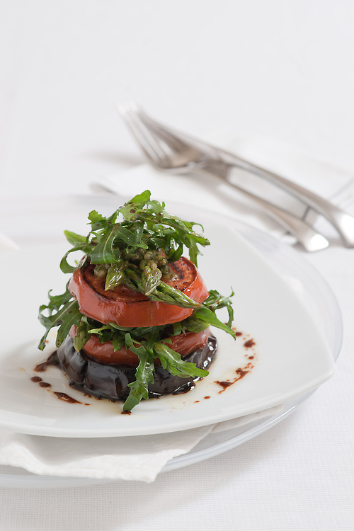 Grilled Eggplant, tomato and rocket.